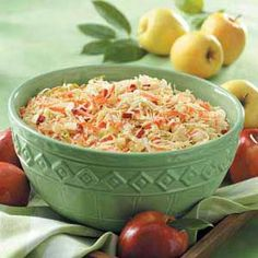 """This crispy, colorful slaw is a true crowd-pleaser at any picnic or church gathering. The apples add color and a touch of sweetness,"" says Julia Livingston, Frostproof, Florida.Apple 'n' Carrot Slaw … Vegetarian Recipes, Cooking Recipes, Healthy Recipes, Carrot Recipes, Carrot Slaw, Food Bowl, Pinterest Recipes, Pinterest Images, Soup And Salad"