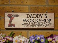 PERSONALISED OUTDOOR WOODEN SIGN DADDYS WORKSHOP DADS SHED GARAGE SHABBY CHIC