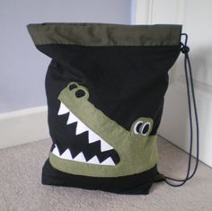 Crocodile drawstring bag - inspiration.  Finished bag is f/s on Etsy.  More designs at link :)
