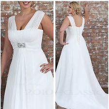 Blanc/Ivoire Robe de mariée mariage soirée Grande taille Chiffon Wedding Dress