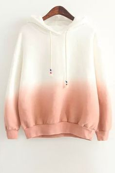 44e6035e3f Ombre Color Pullover Sherpa Hoodie PINK  Sweatshirts