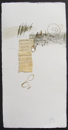 Blanca Serrano, collage with pen and ink, paper, glass