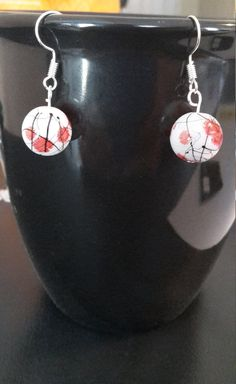White, Red & Black Asian Inspired Earrings by CinnamonCreations14 on Etsy