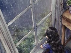 On a rainy day, we stayed next to the window and enjoyed the song-like sound of beautiful raindrops. Art And Illustration, Stock Design, Forest Girl, Jolie Photo, Anime Scenery, Anime Art Girl, Aesthetic Art, Cartoon Art, Cute Drawings