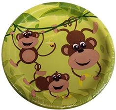"""Amazon.com: Custom & Unique {7"""" Inch} 8 Count Multi-Pack Set of Medium Size Round Circle Disposable Paper Plates w/ Cute Cartoon Happy Swinging Monkeys Jungle Theme Birthday""""Green, Yellow & Brown Colored"""": Kitchen & Dining"""