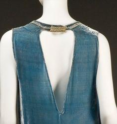 Ephemeral Elegance — Pearl Embellished Velvet Evening Gown, ca. 1920s...