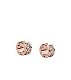 Every ensemble deserves a dose of sparkle, and these bold-yet-petite earrings boast plenty of dazzling detail. Finished in rose gold-tone plating, this chunky, glamorous take on the small hoop features sparkling pavé and delicate logo engraving. With skinny jeans and a tee or your sultriest slip dress, these earrings will bring your look full circle.