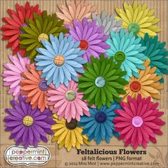 Color overload! New Feltalicious Flowers from peppermintcreative.com