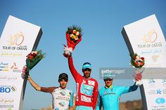 Romain Bardet (2nd) of France and AG2R La Mondiale, Vincenzo Nibali (1st) of Italy and the Astana Pro Team and team mate Jakob Fuglsang (3rd) of Denmark stand on the podium after stage six of the 2016 Tour of Oman, a 130.5km road stage from The Wave Muscat to the Matrah Corniche, on February 21, 2016 in Matrah, Oman. ‪#‎TOO2016‬ #rm_112