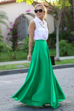 white button up shirt, white statement necklace and amazing green maxi skirt