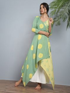 Green Yellow Modal Silk Angrakha Tunic