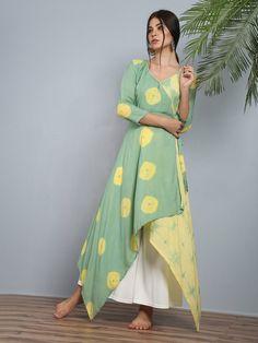Green Yellow Modal Silk Angrakha Tunic