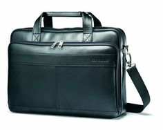 Perfect for professionals on the go, the Samsonite Leather Slim Briefcase helps you arrive in style. Crafted of soft genuine leather, this sleek bag is roomy enough for a laptop; the front zippered pocket keeps business essentials within easy reach. Laptop Briefcase, Leather Briefcase, Laptop Backpack, Laptop Bags, Samsonite Luggage, Laptop Storage, Laptops For Sale, Best Luggage, Totes