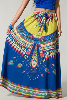 Royal Blue Boho Maxi Skirt
