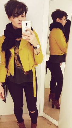 @madamehols Zara yellow biker jacket style. The pixie cut us growing!