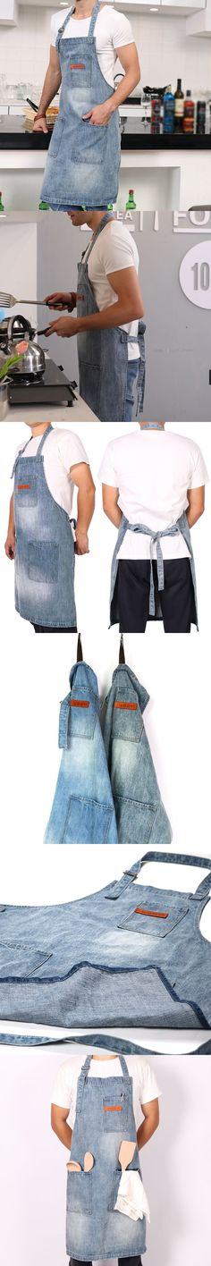 WEEYI Vintage Washable Shop Jeans Denim Apron with 3 Pockets Unisex Blue Homewear Workwear for Baker Chef Bartender #Homewear