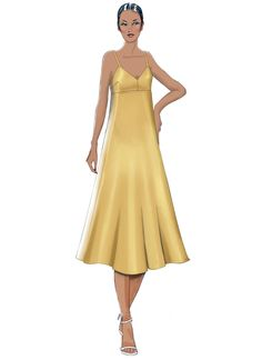V9278 | Misses' Slip-Style Dress with Back Zipper Sewing Pattern | Vogue Patterns