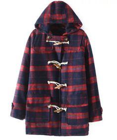 Trendy Color Block Plaid Pocket Long Sleeve Woolen Coat