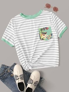 Shop Floral Pocket Patched Striped Ringer Tee at ROMWE, discover more fashion styles online. Babe, Latest T Shirt, Ringer Tee, Floral Stripe, Neck Pattern, T Shirt Diy, Spandex Material, Sleeve Styles, Graphic Tees
