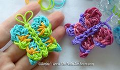 DIY Rainbow Loom Butterflies by Rachel-Mes Petits Bonheurs / Photo and video tutorial (in french)