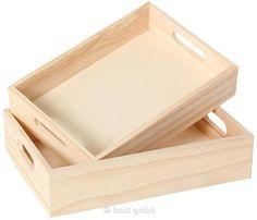 Tablett-Set (2) aus Naturholz Ideal zum Selbstgestalten und Basteln 110720