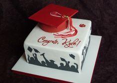 https://flic.kr/p/9KzX7D   Fort Scott High School graduation cake   chocolate mortar board, gumpaste tassel, stenciled silhouette & paw print