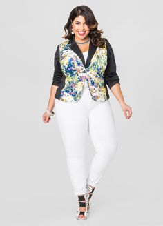 Colorblock Floral Blazer - Ashley Stewart