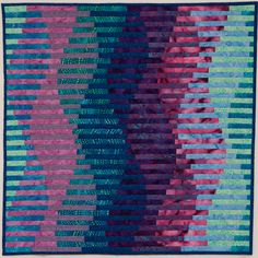 Interleave #3: Waveforms, 2013  24.5″x24.5″ machine pieced and quilted cotton fabric