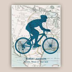 Bike art, Bicyclist Gifts, PERSONALIZED Cyclist gift, bike print, bike map art…
