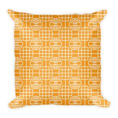 CHINESE CIRCULAR GEOMETRIC PATTERN (ORANGE, CREAM) PILLOW