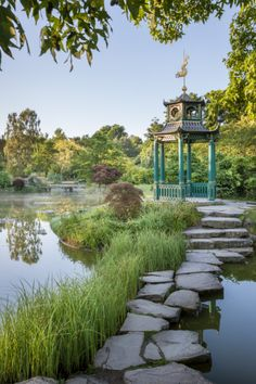 The Japanese pagoda in the Water Garden at Cliveden, Buckinghamshire.