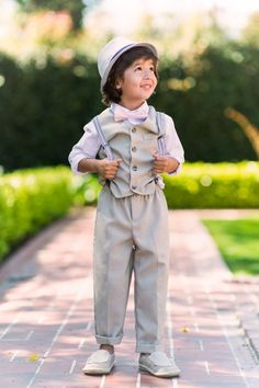 Page Boy Suits Striped Waistcoat Baby Boys Silver & Black Waistcoat Suit