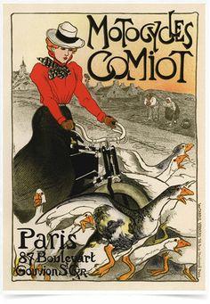 Poster The Belle Epoque Motocycles Comiot impresso com tecnologia HighHD de alta definição em papel semi-glossy especial com gramatura 250g no tamanho A3 (42x29cm) com cores vibrantes.