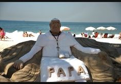 View of a sand statue depicting Pope Francis at Copacabana beach in Rio de Janeiro, Brazil on July 19, 2013. More than 1.5 million pilgrims from around the world are expected to flock to Rio de Janeiro for the July 22-28 visit during the World Youth Day (WYD), a major Roman Catholic youth fest.