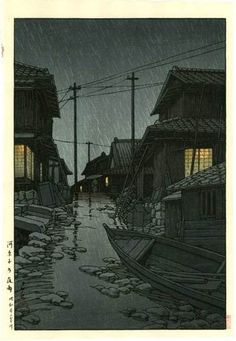 HASUI - Japanese Woodblock Print NIGHT SHOWER | eBay