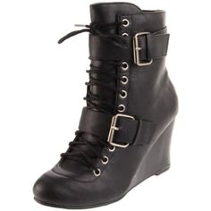 Boot with buckles, laces, and platform heel - yes please