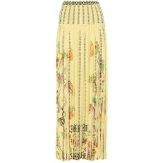Etro Printed Cotton-Blend Skirt (985 CAD) ❤ liked on Polyvore featuring skirts, yellow, yellow skirt, beige skirt and etro