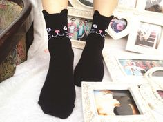 There's no denying it, finding these adorable cat socks are pure good luck! Slip into their ear adornments and let the sweet faces peek out above your favorite flats for a magical day any time of the Crazy Cat Lady, Crazy Cats, Miaou Miaou, Ladies Dress Design, I Love Cats, Cats And Kittens, Cute Outfits, My Style, Funny