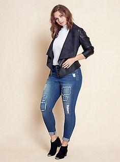 Plus Size Faux Leather Drape Front Blazer, BLACK