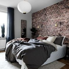 Exposed brick wallpaper I have some in my home, and love it. We get so many comments on it too! Brick Wall Bedroom, Brick Accent Walls, Accent Wall Bedroom, Bedroom Decor, Exposed Brick Bedroom, Master Bedroom, Brick Room, Bedroom Ideas, Grey Walls
