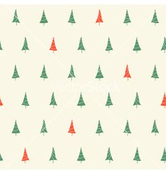 Christmas tree seamless pattern vector by CatChat on VectorStock®