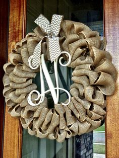 Custom Natural Burlap Vine Monogram Wreath With Chevron Or Polkadot Burlap Bow - Anniversary, Wedding, Birthday on Etsy, $70.00