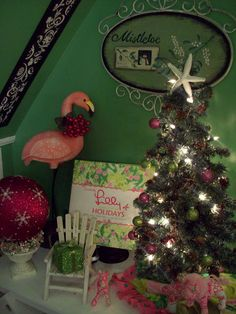 My Lilly Pulitzer inspired holiday vignette on the side table in my kitchen.  Who says Christmas colors are red and green?  :-)  #Lillyholiday