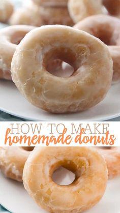 Donut Glaze Recipes, Mini Donut Recipes, Easy Donut Recipe, Fried Cake Donut Recipe, Best Homemade Doughnut Recipe, Homemade Baked Donuts, Homemade Pastries, Pumpkin Donuts Recipe, Amish Donuts Recipe