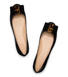"TORY BURCH Flats, ""Chase"" Ballet Flats & Smoking Slippers : Women's Designer Flats Black/Tortoise, $265"