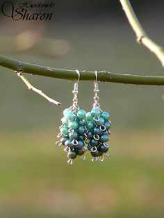 Sharon.handmade / Zelené strapce n.2 green cluster earrings, handmade jewellery with pearl beads