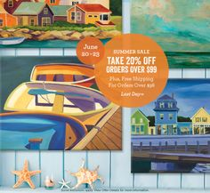 Summer Sale at GreenBox Art – LAST DAY – take 20% Off Orders Over $99, plus Free Shipping For Orders Over $98 through June 23rd only.