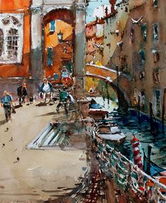 Buy Venice Rio, a Watercolor Painting on Paper, by maximilian damico from Czech Republic, For sale, Price is $345, Size is 12 x 9.5 x 0.1 in.