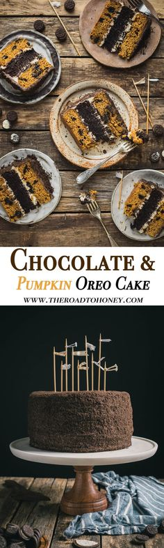 A moist chocolate layer is sandwiched between brown butter pumpkin cake, then topped with black cocoa cream cheese frosting & cookie crumbs to make this Oreo Layer Cake #OreoCake #CakeFromScratch #CreamCheeseFrosting #BlackCocoa
