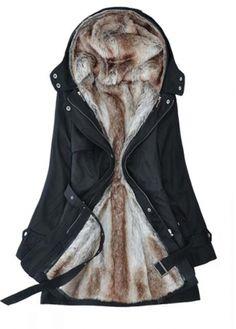 warm faux fur lined winter coat